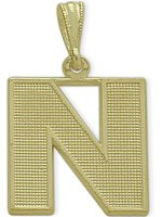 Yellow Gold Block Initial N Pendant