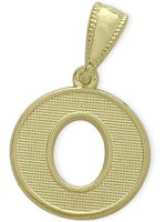 Yellow Gold Block Initial O Pendant