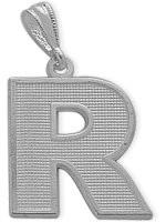 White Gold Block Initial R Pendant