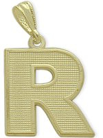 Yellow Gold Block Initial R Pendant