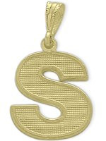 Yellow Gold Block Initial S Pendant