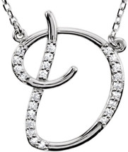 Sterling Silver Diamond Initial D Pendant