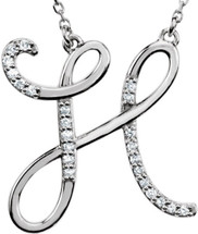 Sterling Silver Diamond Initial H Pendant