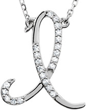 Sterling Silver Diamond Initial I Pendant