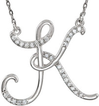 Sterling Silver Diamond Initial K Pendant