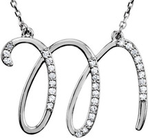 Sterling Silver Diamond Initial M Pendant