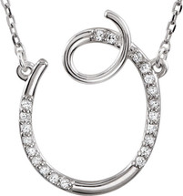 Sterling Silver Diamond Initial O Pendant