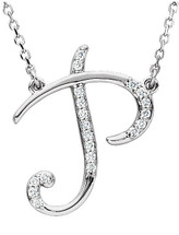 Sterling Silver Diamond Initial P Pendant