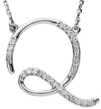 Sterling Silver Diamond Initial Q Pendant