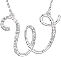 Sterling Silver Diamond Initial W Pendant