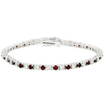 Ladies 10 Carat Created Ruby Tennis Bracelet