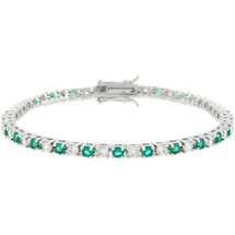 Ladies 10 Carat Created Emerald Tennis Bracelet