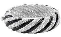 1 Inch White Gold Rhodium Black & White Crystal Bangle