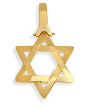 14 Karat Religious High Polish Yellow Gold Star of David Jewish Pendant