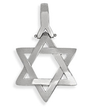 14 Karat High Polish Religious Domed White Gold Star of David Jewish Pendant