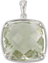 Sterling Silver 16mm Checkerboard Green Quartz Pendant