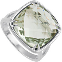 Sterling Silver 14mm Checkerboard Quartz Ring