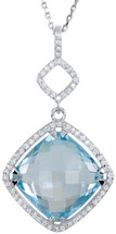 Silver 14mm Sky Blue Topaz and 0.34tcw Diamond Pendant