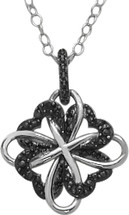 Sterling Silver Black Diamond Clover Pendant