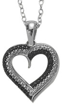 Sterling Silver Black Diamond Heart Pendant