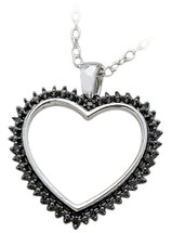 Ladies Sterling Silver Black Diamond Heart Pendant