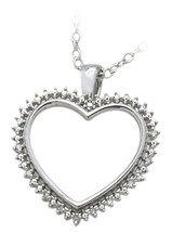Ladies Sterling Silver White Diamond Heart Pendant