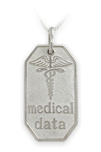 Large White Gold Engravable Medical Data Pendant