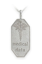 White Gold Engravable Medical Data Pendant