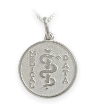 White Gold Round Engravable Medical Data Pendant