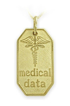 Large Yellow Gold Engravable Medical Data Pendant