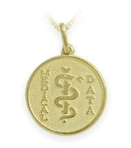 Yellow Gold Round Engravable Medical Data Pendant