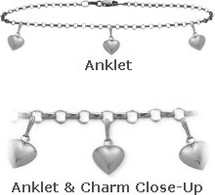 "White Gold 10"" Belcher Style 3 Heart Charm Anklet"
