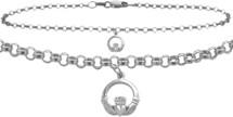 10 Karat White Gold Celtic Charm Cable Anklet