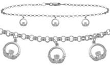 10 Karat  White Gold Celtic 3 Charm Cable Anklet