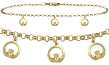 10 Karat Yellow Gold Celtic 3 Charm Cable Anklet