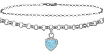 10 Karat White Gold CHOOSE YOUR STONE Cable Heart Charm Anklet