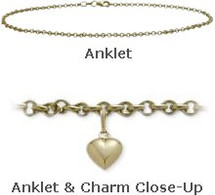 "10"" Yellow Gold Belcher Style Anklet with 9mm Heart Charm"