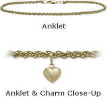 "10"" Yellow Gold Wheat Style Anklet with 9mm Heart Charm"