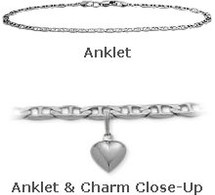 "10"" White Gold Flat Gucci Style Anklet with 9mm Heart Charm"