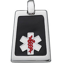 Sterling Silver Black & Red Enamel Medical Pendant