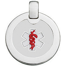 Silver White & Red Enamel Round Medical Pendant