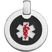 Silver Black & Red Enamel Round Medical Pendant