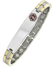 9mm Two-Tone Steel Magnetic Medical Bracelet