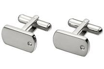 Men's Steel & Cubic Zirconia High Polish Cuff Links