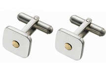 Men's High Polish Steel & 18 Karat Cuff Links