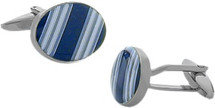 Men's High Polish Steel & Enamel Cuff Links
