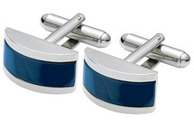 Men's Steel & Navy Blue Cat Eye Cuff Links