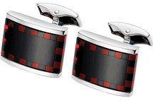 Men's Black Onyx & Red Cornelian Cuff Links
