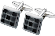 Men's Black Onyx & Fibre Optic Glass Cuff Links