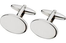 Men's Steel High Polish Oval Cuff Links
